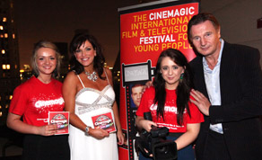 Ellen McLean and Chloe McLaurin, with Cinemagic Chief Executive Joan Burney and Cinemagic Patron Liam Neeson 